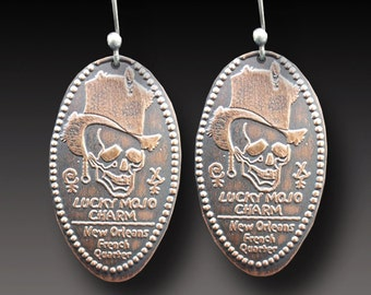 New Orleans Souvenir Penny Earrings Lucky Mojo Charm Earrings