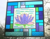 Purple lotus water lily fused glass panel multicolored stained glass hanging panel