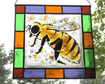 Honey Bee Textured Fused Glass Stained Glass Square Hanging Panel