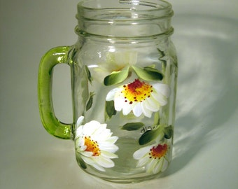 Hand Painted Daisy Mason Jar Pint Glass