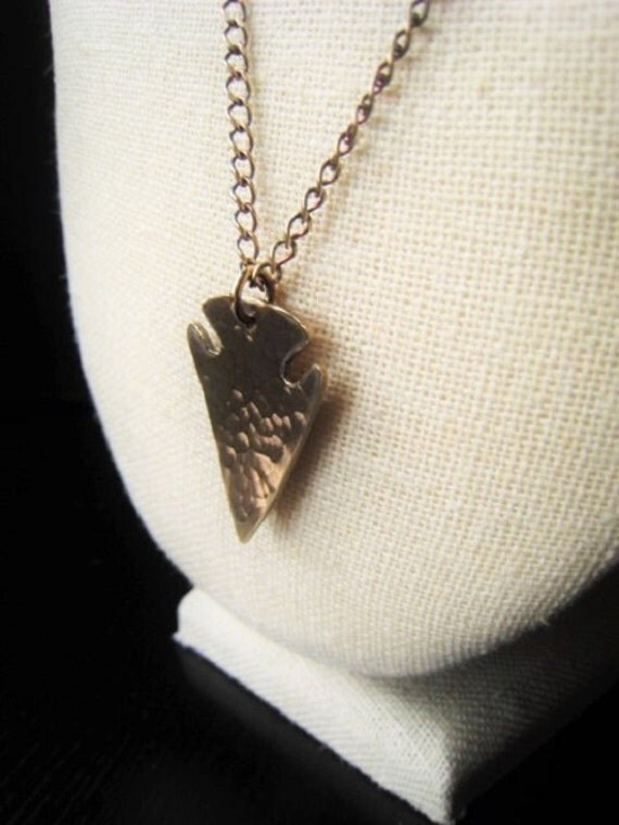 Gold arrowhead pendant necklace hammered bronze necklace item aloadofball Image collections