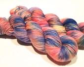 Hand Dyed Yarn – Superwash Merino Wool Cashmere Nylon MCN Sock Yarn  - Pink, Blue, Yellow - 400 Yards – Fingering Weight Yarn