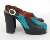 RESERVED 1970's Vintage Glam Rock Turquoise and Black Striped Scalloped Leather Platform Shoes Sz 7.5