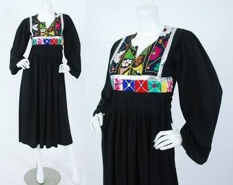 1970's Vintage Gypsy Banjara Mirror Embroidered Silver Metallic Black Rayon Bohemian Dress