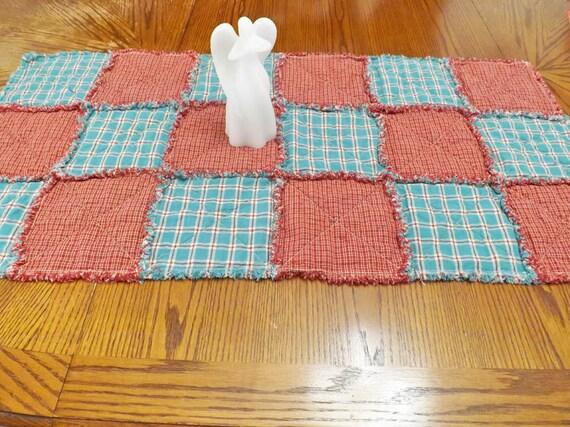 Homespun Rag Quilt Table Runner - Plaids - Checks - Rustic - Primitive - Table Decor - Aqua Red