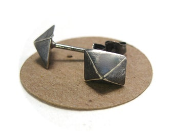 Solid Silver Oxidized Pyramid Stud Earrings, Black Pyramid Studs, Mens Stud Earrings