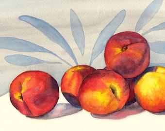 Original still life watercolor painting, Peaches