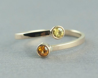 Colored Sapphire Ring, Orange Sapphire, Yellow Sapphire. Solid Gold Ring, 14K Gold Ring, Made to Order, Free Courier Shipping