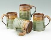 Pottery Tavern Beer Mug in Honey & Sage, Large Stoneware 16 oz Coffee Mug, Sold Singly, Ready to Ship