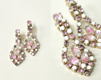 1960s Rhinestone Earrings --- Vintage Pink Costume Earrings