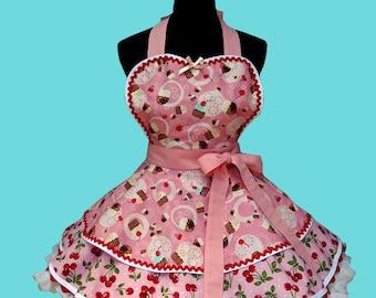 "Apron - Cupcake Apron - "" 2 Layer Cherry Cupcake "" Womens Apron Costume Apron MADE TO ORDER"