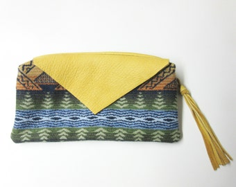 Wool Zippered Pouch Pencil Case Accessory Organizer Cosmetic Bag Fringed Leather Zipper Pull Southwest