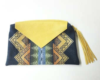 Large Wool Zippered Pouch Accessory Organizer Cosmetic Bag Fringed Leather Zipper Pull Tribal Inspired Wool from Pendleton Oregon