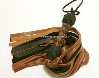 Brown And Black Leather Flogger Whip BDSM Kink Fetish (FLG 104)
