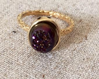 Dara Ettinger NADIA Druzy Ring in 14kt Gold/Espresso Druzy Oval sz 8