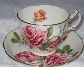 Hammersley Bone China Tea Cup and Saucer--Red, Orange, and Yellow Roses