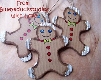 Clearance Sale, Gingerbread Man, UpCycled Art, ReClaimed Cardboard, COOKIE ornament, Christmas Tree Ornie, Folk Art Original