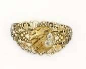 Steampunk Antiqued Brass Filigree Cuff Bracelet with Vintage Gold Brass Watch by Velvet Mechanism