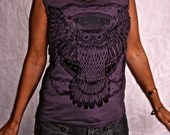 Owl Purple Tshirt Capsleeve Made In USA Cotton Jersey Eggplant Sm, M, L, XL