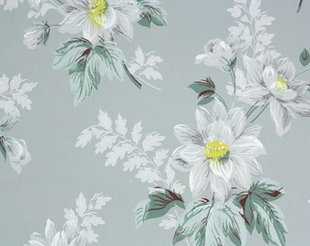 1940s Vintage Wallpaper by the Yard -White Flowers on Gray Green