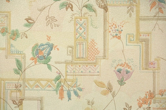 Antique Floral Wallpaper Art Deco From HannahsTreasures On
