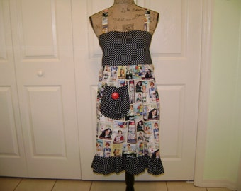 Apron FREE SHIPPING  Ladies Full Length Apron In Kelloggs Vintage Look Fabric   Reversable