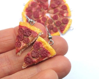 Christmas in July - Pepperoni Pizza Earrings, Pizza jewelry, pepperoni earrings, food jewelry, miniature food, fake food, food earrings