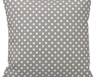 "POLKA DOTS On Soft Gray - Throw Pillow, Decorative Pillow, Pillow Cover, Pillow Insert, Pillow Case - SQUARE- 17"" x 17"" - Zipper Closure"