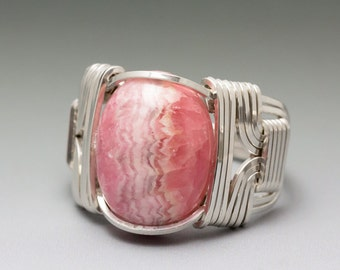 Rhodochrosite Sterling Silver Wire Wrapped Cabochon Ring - Made to Order and Ships Fast!