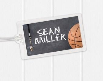 Basketball Bag Tag - Sports Bag Tag - Diaper Bag Tag - Kids Bag Tag Luggage Tag - Chalkboard with Whistle