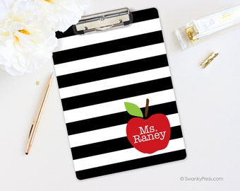 Teacher Clipboard - Teacher Gift - Apple Clipboard - Personalized Clipboard, Monogrammed Clipboard -