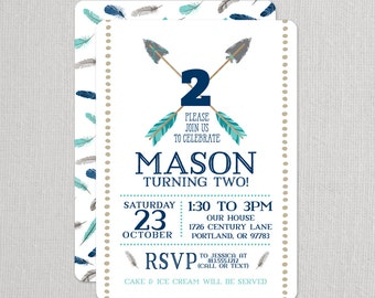 Arrows Birthday Invitation, Tribal Birthday Invitation, Feathers Invitation, second birthday boy