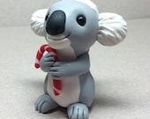 Koala with Candy Cane Ornament by Shelly Schwartz