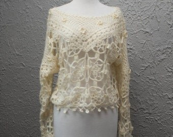 ON SALE Vintage Bohemian Cream Off White Floral Hand Knitted Crochet Sweater Shirt Blouse Sweater Xsmall-Medium