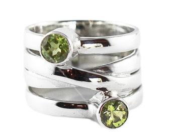 Peridot Gold Ring 5mm Green Stone Personalized Custom Womens Jewelry