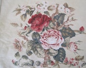RESERVED Needlepoint Chair Cushion Cover Roses Pinks Reds Greens on Beige Velvet Back
