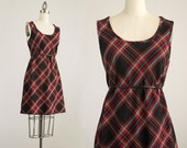 20% Off With Coupon Code! 90s Vintage Red Plaid Jumper Mini Dress / Size Small / Medium