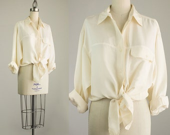 90s Vintage Silk The Limited Cream Oxford Button Down Blouse / Size Small / Medium