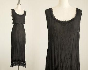 90s Vintage Sheer Black Lace Crinkle Maxi Sun Dress / Size Small / Medium