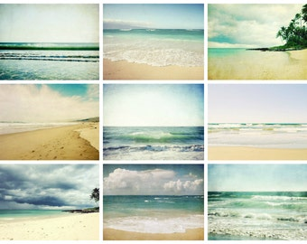Beach photography set - summer beach wall art - set of nine prints - sea ocean waves art - beach cottage decor