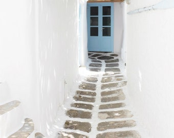 "Greece photography - white blue wall art - narrow street - whitewash town - blue door - greece travel print 8x10  ""Tiny Street"""