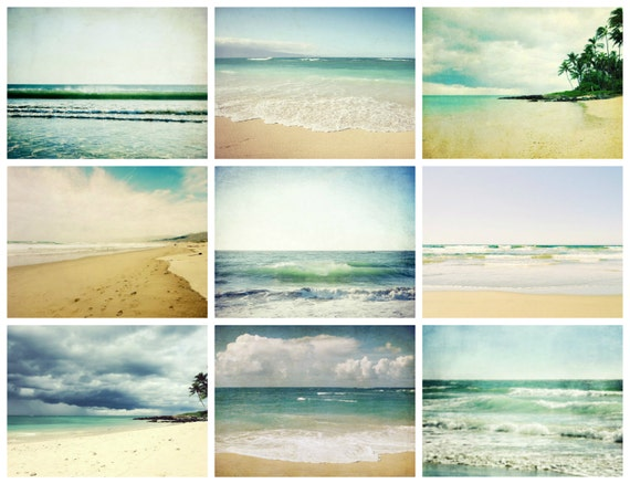 Beach photography set - summer beach wall art - set of nine prints - sea ocean waves art - beach cottage decor