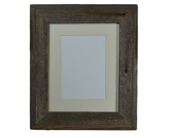 Gallery style reclaimed wood photo frame 8x10 with 8x6 or 5x7 mat