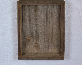 "Wall shelf rustic shadow box style with back 8"" wide and 10"" tall"