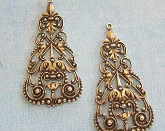 NEW 2 Ornate Brass Drop Findings 572B