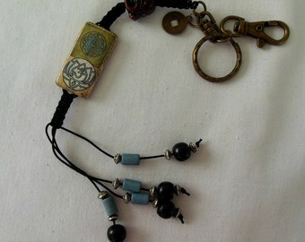 Lotus Love Bamboo Tile Buddha Head Lucky Coin Key Chain - OOAK