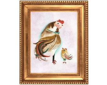 8x11 Fine Art Prints, Wall Art, Chicken Poster, Bird Prints, Bird Poster, Nursery Art, Father and Son Daughter (Only USA)