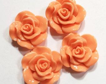 6 pcs of acrylic Lucite flower Cabochon 30x28mm Orange