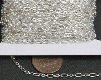 300 ft of Silver plated ( 3 and 1) long and short chain 4.5X2.5mm - Soldered Links