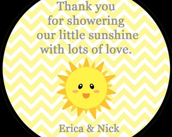 Sunshine Baby Shower Stickers - You Are My Sunshine - AVAILABLE in Four Sizes - You Are My Sunshine Baby Shower